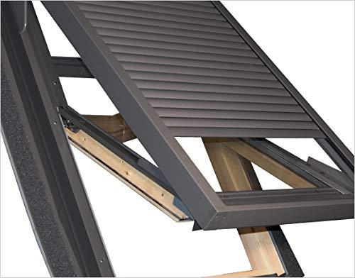 Außenrollladen Für Velux GGL M06 78x118cm Holz Dachfenster Aussenrollladen elektrisch mit Steuerung und Fernbedienung Hitzeschutz Dachfenster Sonderangebot