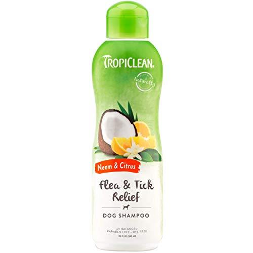 TropiClean Neem & Citrus Flea & Tick Relief Shampoo for Dogs, 20oz -...