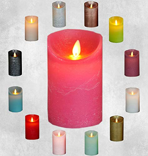 LED Echtwachskerze Kerze viele Farben mit Timer flackender Docht Wachskerze Kerzen Batterie, Farbe:Fuchsia, Größe:10 cm