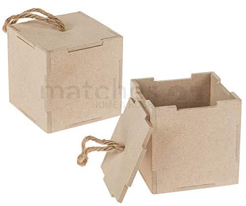 matches21 Scatole in Legno/Piccole Cassette in Legno da Personalizzare per Calendario dell'Avvento ECC. 2 Pezzi. 9 x 9 x 9 cm Pannello in Fibra Naturale con Coperchio e Passante