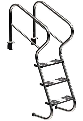 Ideal - Escalera de acero inoxidable con peldaños de seguridad, 3 peldaños V2A de well2wellness®