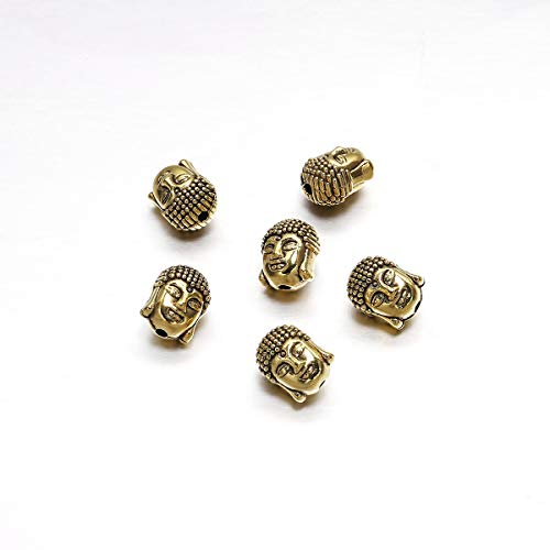 10pcs/Pack Antique Gold/Silver Charm Pendants Buddha Sparta Leopard Lion Heads Spacer Beads Supplies for Jewelry Finding Making DIY Bracelet Necklace (Gold Buddha-1)