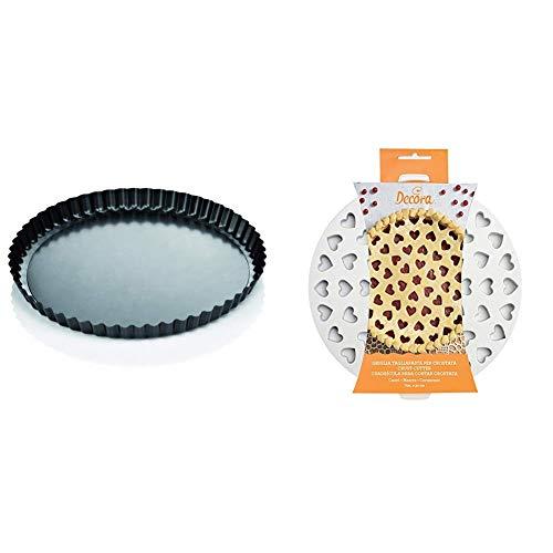 Tescoma 623115 Delicia Stampo Crostata con Fondo Removibile, Diametro 28 & Decora 0215801 Griglia Tagliapasta per Crostate Cuori, Bianco