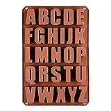 Pinacis Silikon–Form mit Buchstaben, Pralinenform, Schokoladenform, Giessform, Silicone Mold, Kindergeburtstag, Alphabet, Abschiedsfeier, Kuchenverzierung, Lesen, Schreiben (Braun)