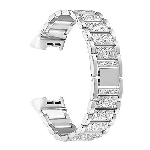 YOOSIDE Armband für Fitbit Charge 4/Charge 3,Edelstahl Metall Ersatzarmbänder Kristall Armbänder Fitness Zubehör für Fitbit Charge 3/Charge 4,Silber