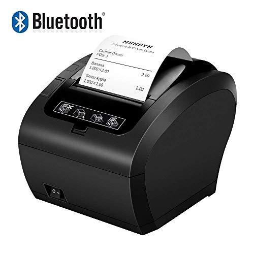MUNBYN Impresora de Ticket Térmica Bluetooth, Impresora de Recibos 80mm, Ticketera Velocidad 300mm/s ESC/POS Compatible con Mac/Android/Windows, Negra