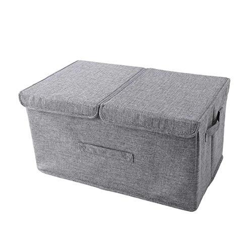 Aufbewahrungsbox Mit Zwei Deckel Verschieben Faltbox Mit Großer Stauraum Würfelformkunst,Aus Baumwolle Und Leinen...