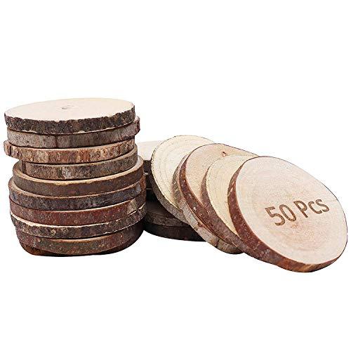 Holzscheiben (50 Stück) - 3-5 cm Unbehandelte Holzscheiben - Rustikale Holz Log Scheiben 5 mm Dicke - Holzscheiben für Kunsts, Handwerk und Dekoration