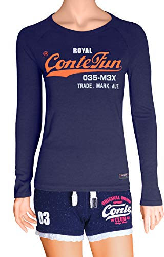M.Conte dames T-shirt korte mouwen slim fit sweatshirt neon-roze paars grijs blauw roze rood groen zwart marine blauw S M L XL kleur vouwt klein uit één maat groter bestellen Romana