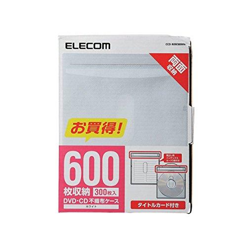 『エレコム DVD BD CDケース 不織布 両面収納 300枚入 60枚収納可 ホワイト CCD-NIW300WH』の1枚目の画像