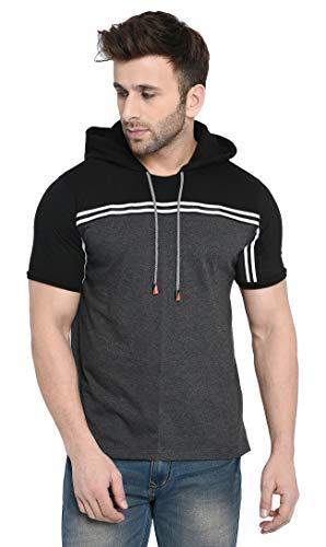 Fenoix Men's Regular Fit T-Shirt (2001 ANTH BLK HOOD HALF L_Black_Large)
