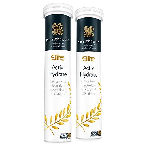 Activ Hydrate | Healthspan Elite | 40 Effervescent Tablets | Informed Sport Accredited | Citrus Flavoured | Replenishes Essential Electrolytes, Calcium, Magnesium & Potassium | 300mg Sodium