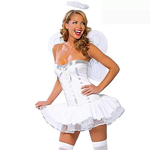 thematys Sexy weißer Engel Kostüm-Set für Damen - perfekt für Cosplay, Karneval & Halloween - Einheitsgröße 160-180cm