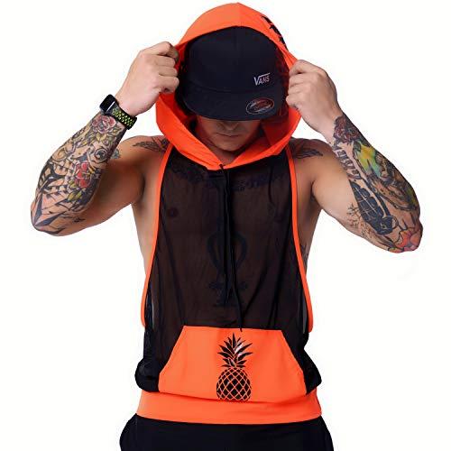 Mens Black White Gym Hoodie – Hooded Cut Off Tank Top Sleeveless Rave Jersey EDM
