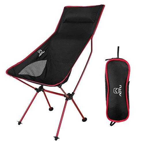 OUTAD Fischen Stuhl klappstuhl faltbare platz für picknick wandern outdoor und indoor aktivitäten Liegestuhl (Rot)