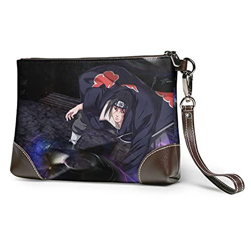Naruto cuero embrague monederos bolsa tarjeta de teléfono carteras correa cremallera cuero suave muñeca embrague bolsas para mujeres hombres con ranuras cuero auténtico embrague embrague embrague