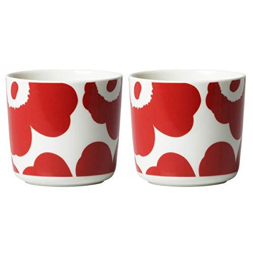 Marimekko - Becher ohne Henkel, Kaffeebecher - Steingut - Unikko - Weiß-Rot - 2 er Set