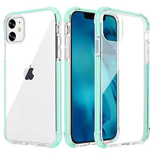 OHNICE iPhone 11 Case Clear Ultra Premium Hybrid Anti-Yellow Hard PC Back Cover with Soft Crystal Corners Rubber Bumper Shockproof Protective Case for Apple 2019 New iPhone 11-6.1 inch (Green)