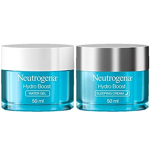 Neutrogena Hydro Boost Day and Night Hydration Regime Set for Dry Skin, Water Gel Moisturiser and Sleeping Cream, Purified With Hyaluronic Acid, Developed with Dermatologists, 50 ml (Pack of 2)