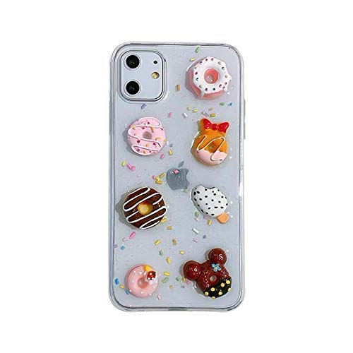 Kawaii 3D Donuts Case for iPhone 11, Protective Clear Case for Apple iPhone 11, 100% Handmade, Food Phone Case Collection