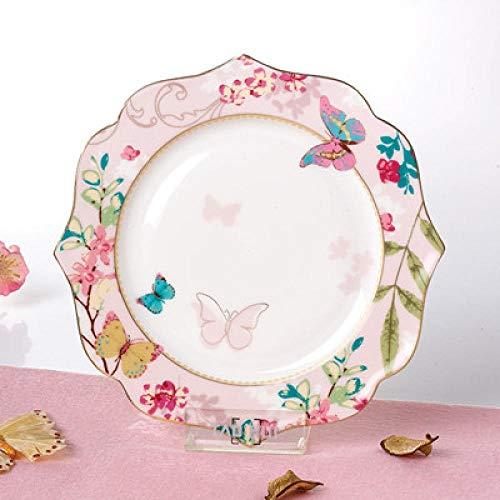 Plato de Cena Bone China Plate Dinner Tray Flower Shape Flat Dish Pastoralism Steak Dish Butterfly Dessert Home Decoration 1Pcs Pink