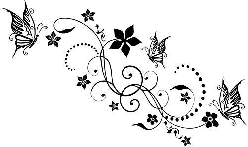 DD Dotzler Design 24082014 Auto Klebe-Folie Blumen-Ranke Ornament Tribal mit 3 Schmetterlingen Auto-Aufkleber Vinyl-Folie Sticker Auto-Dekor Aufkleber-Folie Tattoo-Aufkleber Auto-Folie Motorhaube Heckscheibe Tuning Sticker 115 x 38 cm schwarz
