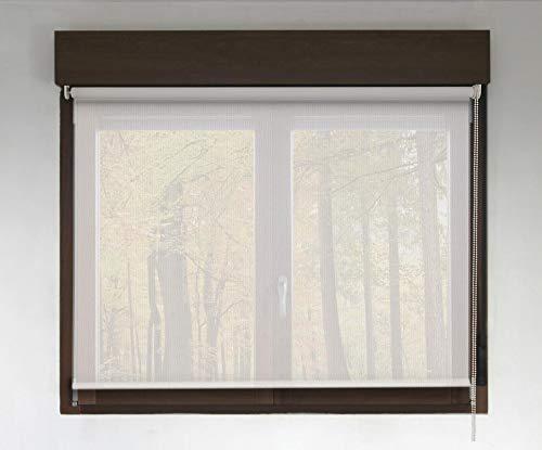 Estor Enrollable Screen Premium (Desde 40 hasta 300cm de Ancho - Permite Paso de luz y Ver el Exterior sin Que lo vean). Color Blanco. Medida 190cm x 200cm para Ventanas y Puertas