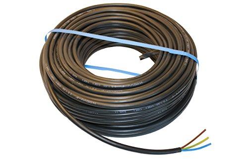 PVC Schlauchleitung H05VV-F 3G1,5 mm² Schwarz verschiedene Längen 5-50m (50m)