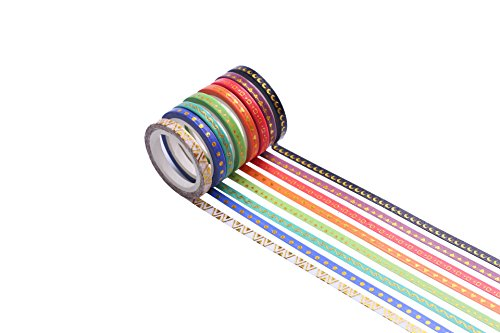 52 Rolls Washi Tape,Foil Gold Skinny Decorative Masking Washi Tapes,3MM Wide DIY Japanese Masking Tape Supplies