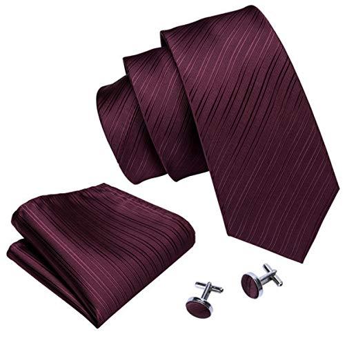 Seda hombres corbata Lazo determinado del pañuelo de las mancuernas Vino tinto plaza de bolsillo Sólido corbata de boda del pañuelo corbata Fa 5085