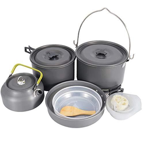 Kit de Utensilios de Cocina para Acampar Potable liviano al Aire Libre COOPLO Cocina Pot Pot Pan Apertura para 6-7 Personas Camping CAMBITA DE UTENIDOS DE CAFIL para Picnic Senderismo