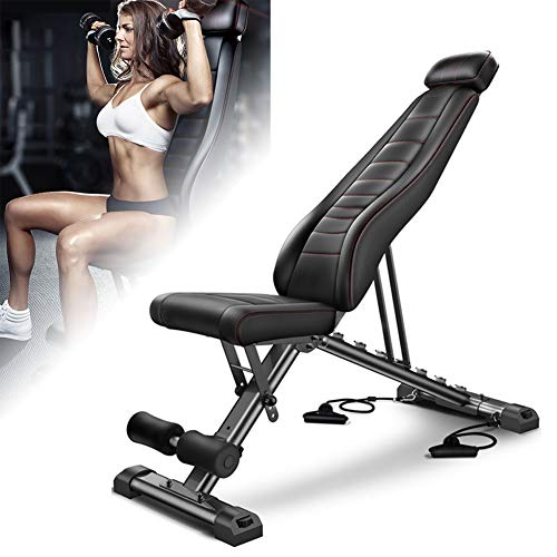 Gretess Adjustable Weight Bench, Foldable Incline Workout Bench Press, Dumbbell Stool, Home Gym Exercise Strength Training Equipment, 650 lbs Bearing Capacity, Easy Installation & Save Space
