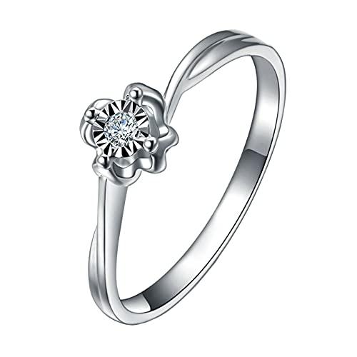 Amody Anillos de Matrimonio Oro Blanco, Anillos Matrimonio Flor Diseño con 4 Clavijas Redonda Diamante 0.026ct Tamaño 22