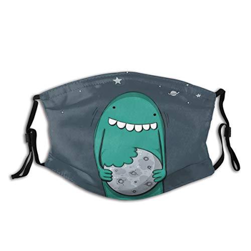 MundschutzAtmungsaktiveGesichtsmundabdeckungStaubdichter,Cartoon Monster with Sharp Teeth Biting Sweet Nursery,Gesichtsdekorationen