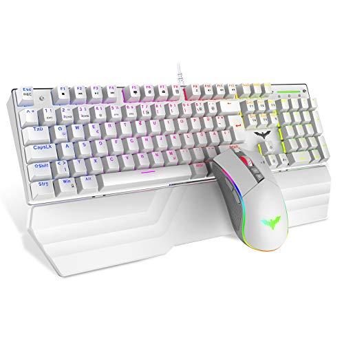 havit Mechanische Gaming Tastatur und Maus Set, RGB Hintergrundbeleuchtung QWERTZ (DE-Layout), Aluminiumoberfläche und Handballenauflage, 4800DPI RGB Wired Gaming Maus mit 7 Tasten (Weiß)