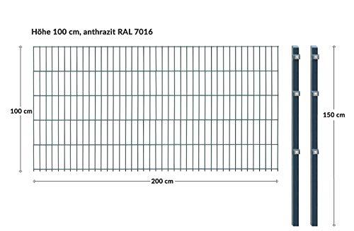 Arvotec Einstabmatten, H 100 cm, grün (RAL6005) oder anthrazit (RAL7016), L 10-50m - Drahtstärke 8/6/4mm - langlebig, robust & preisgünstig (Einstabmatten, H 100 cm, L 10 m anthrazit)