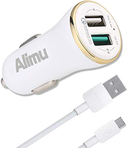 QC3.0 Fast Car Charger Compatible Samsung Tablet Phone Galaxy S6/ S7/ Edge/Plus/Active /A6 J7 J3 /Note 5 /Note 4, LG V10 G4 and Other Android Phones, Power Adapter and Micro-USB Cable