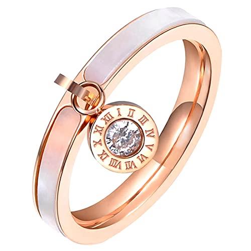 (A) 指輪 リング レディース サージカルステンレス316L ピンクゴールドクリスタルナンバーチャームシェルステンレスリング(RWS008)20号 ローズゴールド ローマ数字 人気