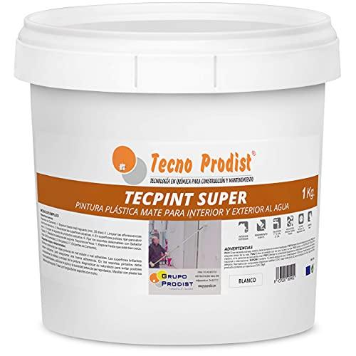 TECPINT SÚPER de Tecno Prodist - 1 Kg (BLANCO) Pintura para Exterior e Interior al Agua - Gran cubrición y blancura - Lavable - Fácil Aplicación