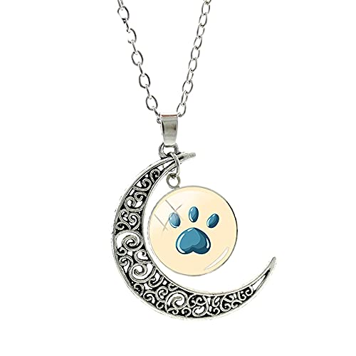 Lindo gato perro impresión luna cristal colgante collar hecho a mano antiguo plateado joyería mujeres accesorios de moda