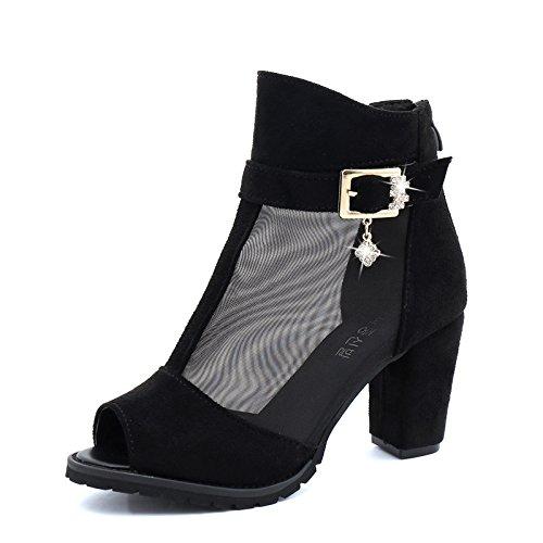 ZL-nslx Chaussures À Talons Haut Bouche De Poisson, Summer Diamond, Grande Taille De Chaussures, Bottes De Tennis,Black,Eu37Cn38