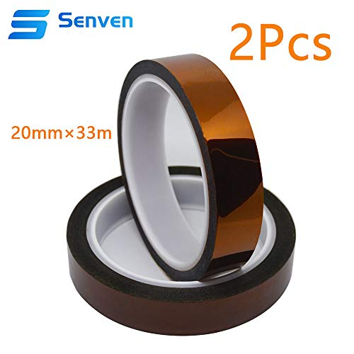 Senven 2 volumes 3D Printer High Temp Tape, Heat Resistant Tape Polyimide Masking Tape Kapton Tape for Masking, Soldering, Powder Coating, Sublimation and Insulating Circuit Boards (33M x 20MM) × 2