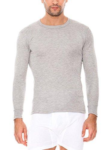 Abanderado - Camiseta térmica de manga larga y cuello redondo para hombre, color Gris, talla 56 (XL), Talla Internacional: L