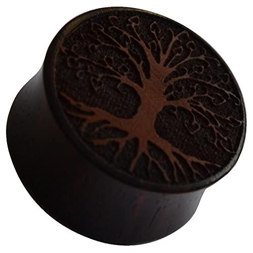 CHICNET Dilatador dilatador para hombre y mujer, de madera de sono en marrón oscuro, con grabado del árbol de la vida, doble capa, 8 mm - 20 mm, árbol del mundo Yggdrasil Tree of Life, Madera,