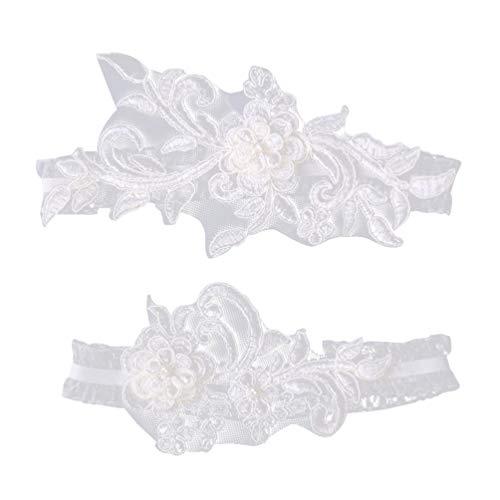 Amosfun Lot de 2 jarretières de mariée en dentelle pour mariage, fiançailles, banquet, décoration de costume (style western)