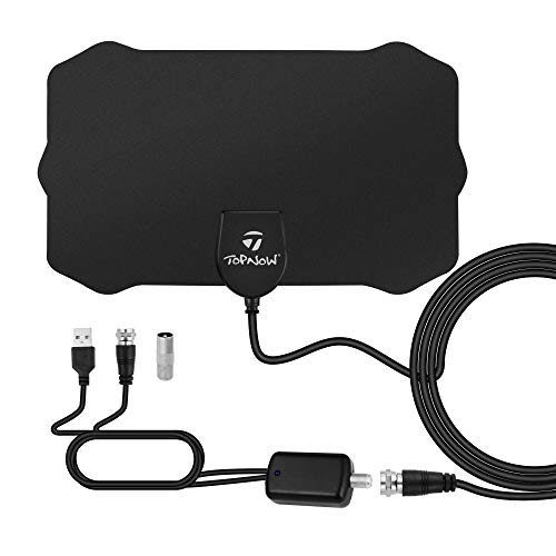 HDTV Antenna, Indoor Amplified HD Digital TV Antenna 130 Mile Range Support 4K 1080p and All TVs with Detachable Amplifier - 16.5ft Longer Coax Cable - Black