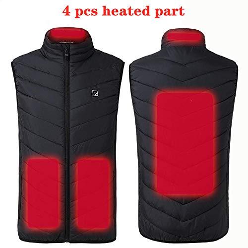 Herenvest voor de winter buiten, infrarood USB-verwarming, thermo-elektrisch vest, visvest. Small Black 4 Pcs Heated