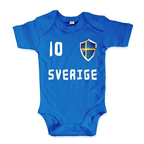 net-shirts Organic Baby Body mit Sverige Schweden 02 Aufdruck Fußball Fan WM EM Strampler - Spielernummer wählbar, Größe 03-06 Monate-Spielernummer 10