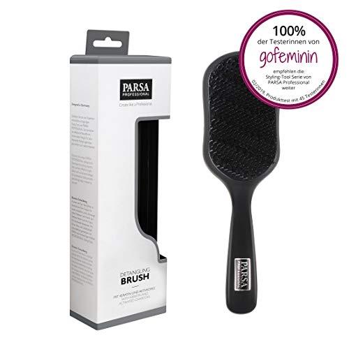 PARSA Detangling Brush 300-1 - Antistatische Entwirrbürste Haarbürste aus Naturborsten mit Keratin und Aktivkohle angereichert für extra Glanz und sanftes Entwirren und Pflege