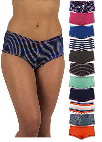 Sexy Basics Women's 12 Pack Cotton Stretch Boyshort Panties (X-Large (8), 12 Pack - Mix Variety Solid Colors & Fashion Prints)
